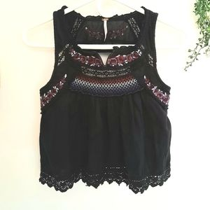 Free People Embroidered Beaded Open Back Smock Top